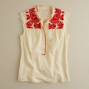 J Crew Boho Embroidered top